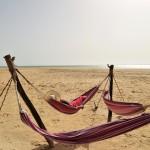 Hammocks on the beach in Dakhla Attitude Surf Camp Hotel, Morocco. gwatemala colombia playa vamos