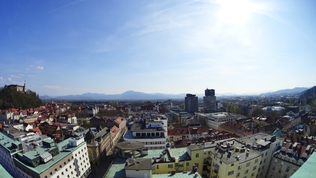 View on the city of Ljubljana and the mountains