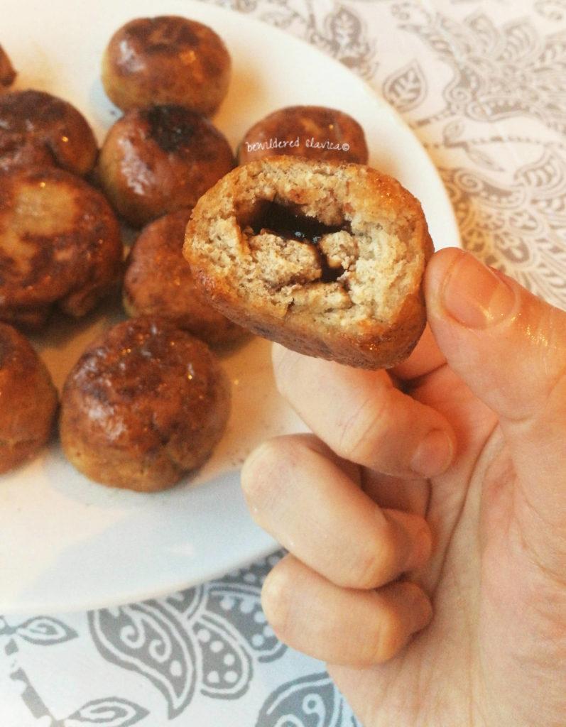 dietetyczne pączki bez gluteny mąki pszczennej ziemniaczane pekmez krofne donuts recept przepis dieta cukier cukru celiakia jęczmienna razowa powidła domowe