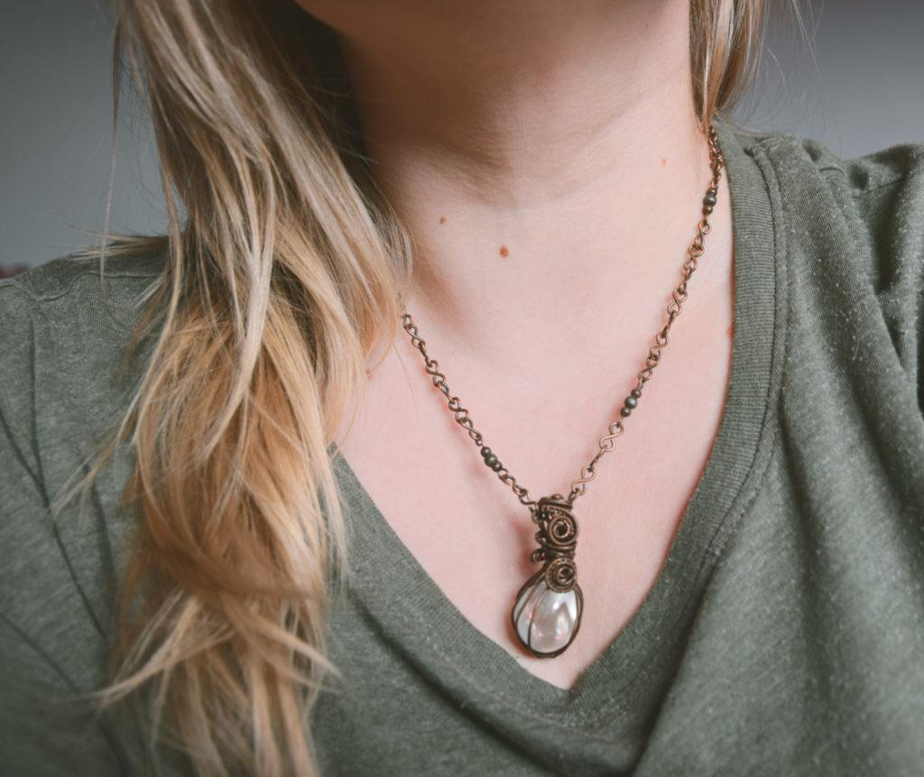 angel aura naszyjnik wisiorek zawieszka pendant copper miedziany miedz handmade