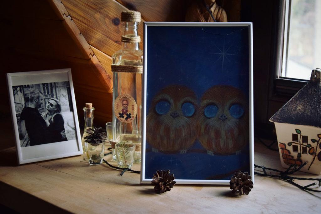 sówki nierozłączki duch lasu słowiański obrazek folk legenda ludowa baś strażnicy lasu