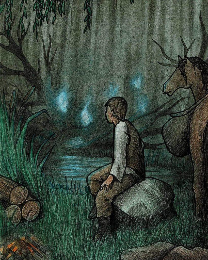 paulina śliwa art rysunek słowianki demon świetlik błędne ogniki słowianie tradycjna tutorial