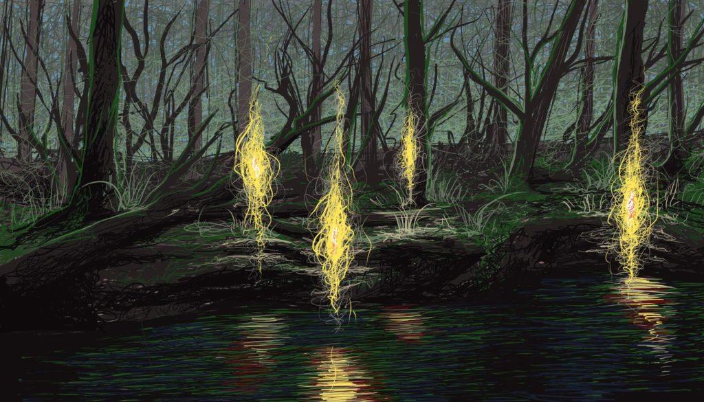 Błędne Ogniki, tajemnicze istoty z bagien
