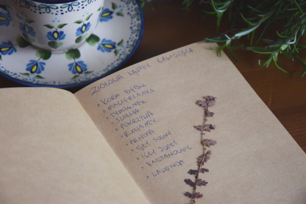 zielnik zielarka książka filiżanka kaszubski wzór rozmaryn rosemary romarin herbal book journal herbiness herbiary book of shadows księga cieni słowianka